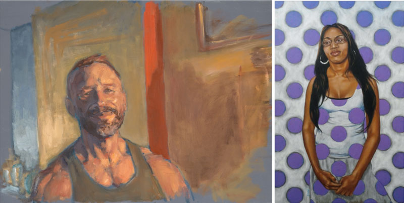 """Dirk"", Oil on Canvas, by David Marquardt and ""Kristina Connects the Dots"", Acrylic on Board, by Bryan Hoffman"